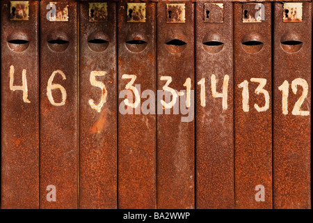 Rusty mail boxes closeup. - Stock Photo