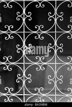 Seventies, black and white photo, symbolic, gate, lattice gate, ornaments, wrought-iron - Stock Photo