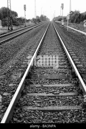 Seventies, black and white photo, rail traffic, rail tracks, Ruhr area, North Rhine-Westphalia - Stock Photo