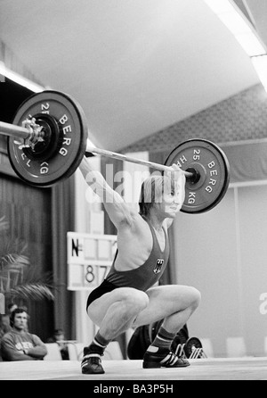 Seventies, black and white photo, sports, weightlifting, EWG Cup 1973, weightlifter, D-Oberhausen, Ruhr area, North - Stock Photo