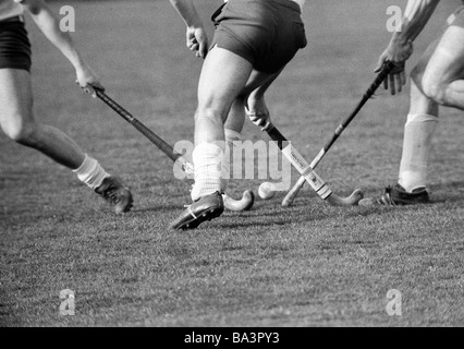 Seventies, black and white photo, sports, hockey, field hockey, OTHC Oberhausen versus Etuf Essen 1:1, symbolic, - Stock Photo
