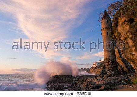 Coastline Castle Turret Laguna Beach California - Stock Photo
