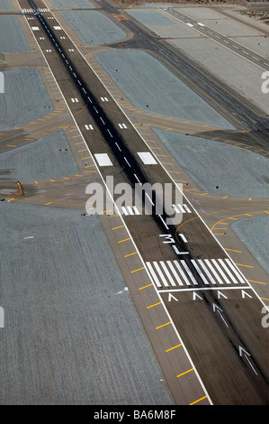aerial view above Palm Springs International Airport PSP runway 31L - Stock Photo