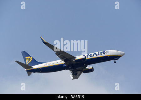 Ryanair Boeing 737-8AS on final approach at Stansted Airport - Stock Photo