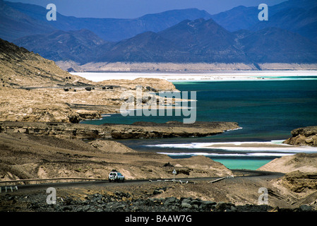 Lac Assal (155 mt under the sea level) is located in the Afar triangle and is the lowest point in Africa, Djibouti - Stock Photo
