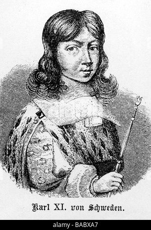 Charles XI, 24.11.1655 - 15.4.1697, King of Sweden since 23.2.1660, portrait, wood engraving, 19th century, Additional - Stock Photo