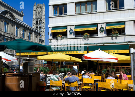 France, Seine Maritime, Rouen, Cafe nearby Musee des Beaux Arts - Stock Photo