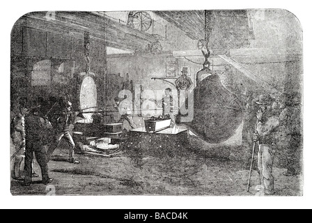 mortar casting at the regent canal ironworks foundry Messrs Grissell Government 1855 - Stock Photo