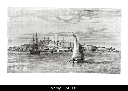 the city of montevideo uruguay south america port harbour coast dock sail sailing boat wind ship waves 1865 - Stock Photo