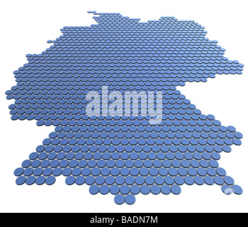 Abstract illustration of a german map to display the outline of the country. Image is produced as a high resolution - Stock Photo