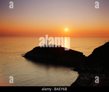 GB WALES GWYNEDD ANGLESEY SOUTH STACK LIGHTHOUSE - Stock Photo