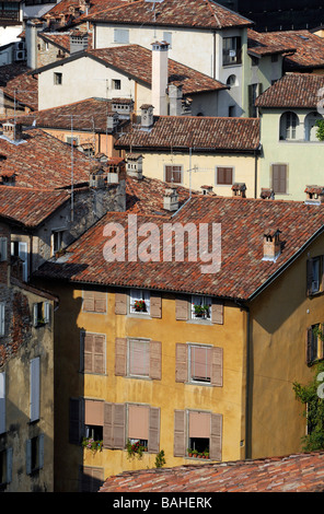 View of the old town of Bergamo, in northern Italy. - Stock Photo