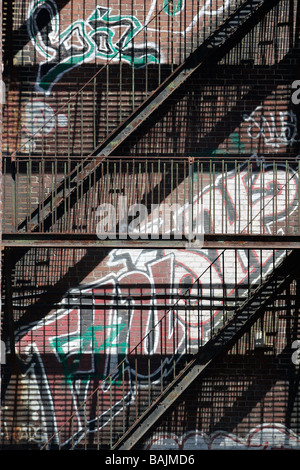 fire escape graffiti Boston - Stock Photo