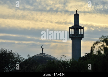 London Central Mosque (Regents Park Mosque) England UK at sunset - Stock Photo