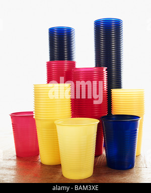 Stacked plastic cups - Stock Photo