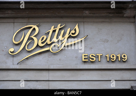 Sign for Betty's Cafe Tea Rooms, St. Helen's Square, York, England, UK. - Stock Photo