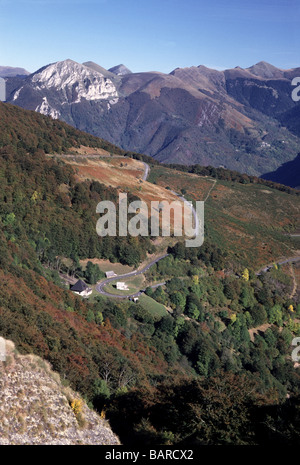 France. Dept.Hautes-Pyrenees.Looking into the Valley d'Aure from the Col d'Aspin 1489m. - Stock Photo
