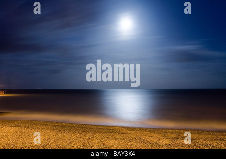 Moonlit beach in Eastbourne, East Sussex, England, Europe - Stock Photo