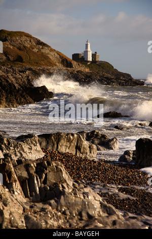 Mumbles Lighthouse during a Storm, Mumbles, Gower Peninsular, Wales, UK - Stock Photo