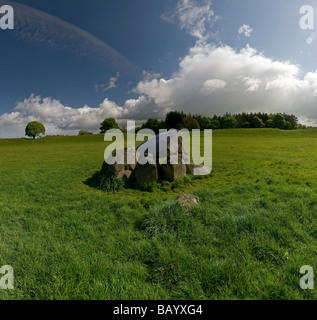 The passage grave inside The Giant's Ring near Belfast, County Down, Northern Ireland, UK - Stock Photo