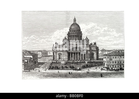 st isaac Saint Isaac's Cathedral Isaakievskiy Sobor Saint Petersburg Russia largest church Peter the Great severe - Stock Photo