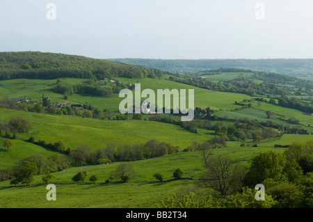 The view across from Haresfield Beacon towards Standish Wood near Stroud Gloucestershire - Stock Photo