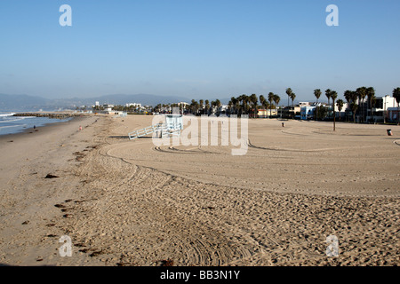 an almost empty beach early morning venice beach los angeles california usa - Stock Photo
