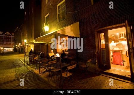 Night street scene in Portland, ME. - Stock Photo