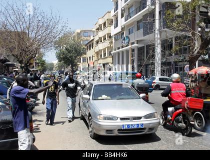 Street in the city of Dakar, Senegal - Stock Photo