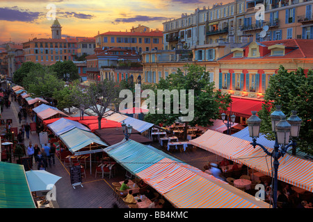 Flower Market in the 'Vielle Ville' (old town) part of Nice, France on the French riviera - Stock Photo