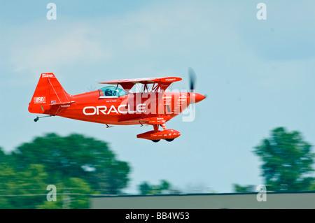 Oracle Challenger II Stunt Biplane flying - Stock Photo
