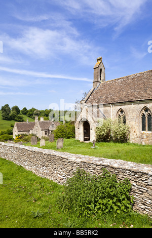 Lasborough Manor and St Marys church in the Cotswold hamlet of Lasborough, Gloucestershire. - Stock Photo