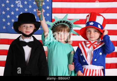 Kids dressed up in patriotic costumes - Stock Photo