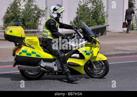 London Ambulance Service paramedic on motorbike - Stock Photo