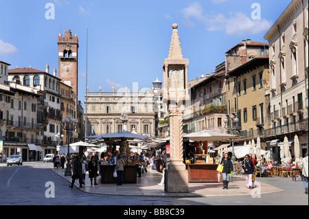 Piazza Erbe square, Verona, Lake Garda, Italy, Europe - Stock Photo