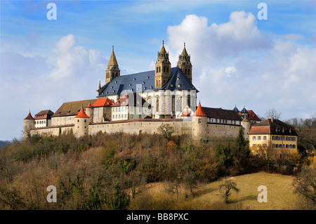 Comburg or Grosscomburg Monastery in Steinbach near Schwaebisch Hall, Schwaebisch Hall district, Baden-Wuerttemberg, - Stock Photo