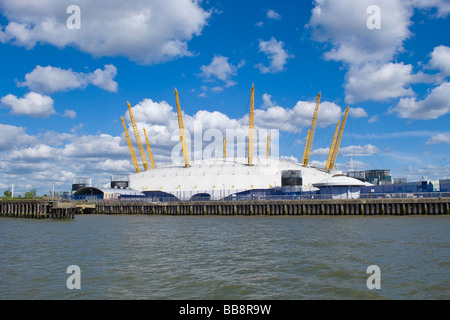 London , The Greenwich Peninsular , O2 Arena , Millennium Dome , from water of River Thames on sunny spring afternoon - Stock Photo