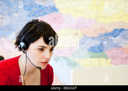 woman working in call center - Stock Photo
