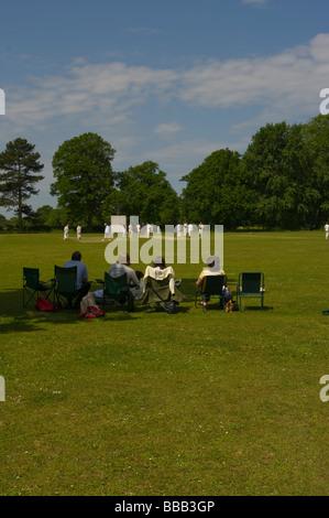 Villagers Watching a Village Cricket Match Edenbridge Kent England - Stock Photo