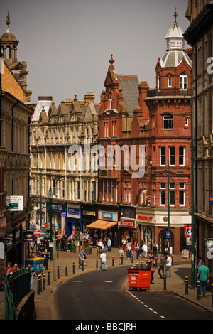 View of Newport Commercial Street from Stow Hill - Stock Photo
