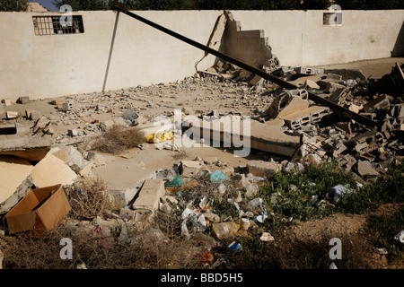The ruins of a shop remain untouched after it was demolished by the Green Patro. Bedouin village of Elokbi, Israel - Stock Photo