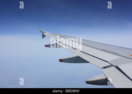 The view from the window of an Airbus A320 commercial jet - Stock Photo