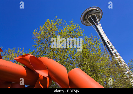 Space Needle and Olympic Iliad by Alexander Calder; Seattle Center, Seattle, Washington State, USA - Stock Photo