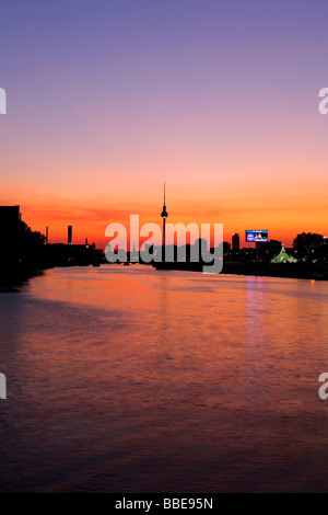 Sunset over the river Spree in Berlin, silhouette of the television tower, Berlin, Germany, Europe - Stock Photo
