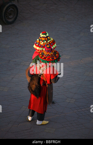 Africa, North Africa, Morocco, Marrakech, Medina, Djemaa el Fna Square, Water Sellers, Coloured Costumes, - Stock Photo