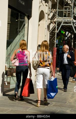 Paris France, Women Luxury Clothes Shopping, Street Scene, Outside Prada Store, 'Rue Faubourg Saint Honore' - Stock Photo
