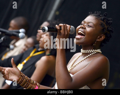 Entertaining over 25 000 local and international jazz lovers and fans is newcomer Siphokazi who performs at the - Stock Photo