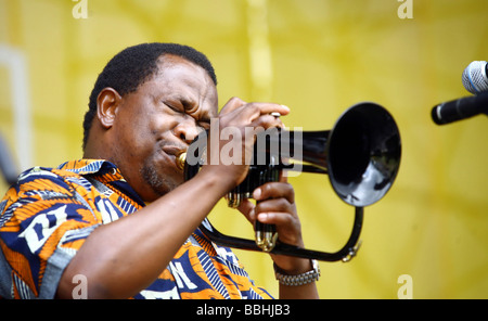Entertaining over 25 000 local and international jazz lovers and fans is Brian Thusi performs at the 4th Annual - Stock Photo