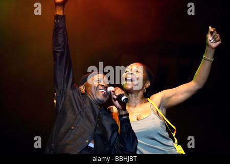 Entertaining over 25 000 local and international jazz lovers and fans is Caiphus Semenya and Letta Mbulu perform - Stock Photo
