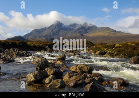 Sgurr nan Gillean from Sligachan, Isle of Skye, Scotland - Stock Photo